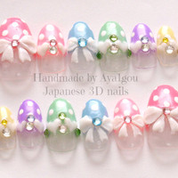 Kawaii nails, 3D nails, pastel, fairy kei, polka dot, bows, gems, heart, Japanese fashion, oval tip, artificial nails
