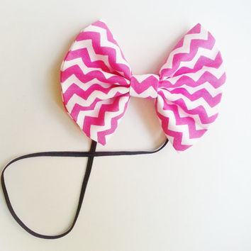 Pink Chevron Headband, Small Hairbow Headband, Toddler Headband, Baby Headband, Spring Headband