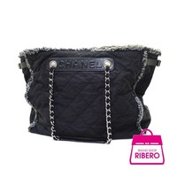 Auth CHANEL A 67420 Fringe Chain Tote Bag Women Nylon canvasxleather tote bag