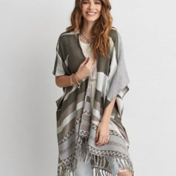 AEO Open Stitch Poncho , Cream | American Eagle Outfitters
