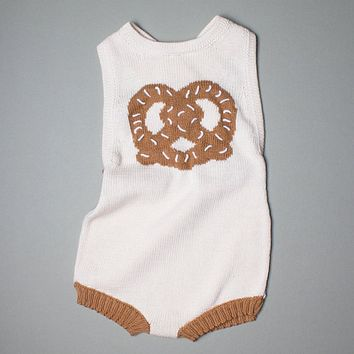 Estella White Organic Cotton Sleeveless Baby Romper - Pretzel 0–3M