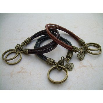 Womens Leather Bracelet and Valet Keychain, Key Chain, Womens Bracelet, Leather Bracelet, Womens Jewelry, Mothers Day