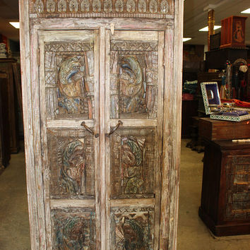 uNique Old Vintage Architectural remnants Wooden Wardrobe Armoire Carving Indian Antique Cabinet Storage