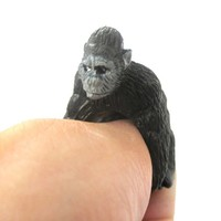 3D Gorilla Ape Figurine Shaped Animal Wrap Ring for Kids | US Size 3 to 5