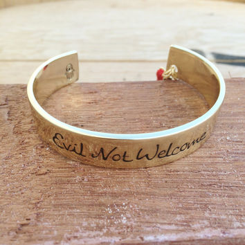 "Gold ""Evil Not Welcome"" Bangle, Positive Vibes Only, Buddha Charm and Greek Eye Bangle"