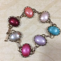Faux Pearl Easter Egg Colors Bracelet, Oval Cabochon Bracelet, Multi Color Bracelet, Gold Tone Setting, Mid Century Jewelry  217