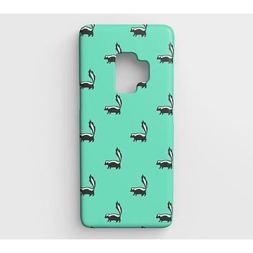 Skunk Cell Phone Case Galaxy S9 - Black on Light Green