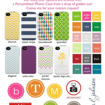 Personalized Graduation Gift iPhone 5 Case 4 / 4S or 3G or Samsung - Coral Quatrefoil Navy Monogram- original design by a drop of golden sun