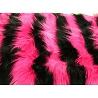 ArtOFabric Faux Fur Throw Blanket - Rugs Two Tone Stripe Pink and Black 36 Inch By 60 Inch