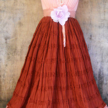 Rust party dress peach ruffles cupcake  wedding bridesmaid rose fall  vintage   romantic medium   by vintage opulence on Etsy