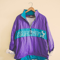 Windbreaker Purple Blue Aqua Turquoise Starter Jacket Coat Women's Medium Hipster Preppy 80s Oversized Slouchy Toggle Waist Hood