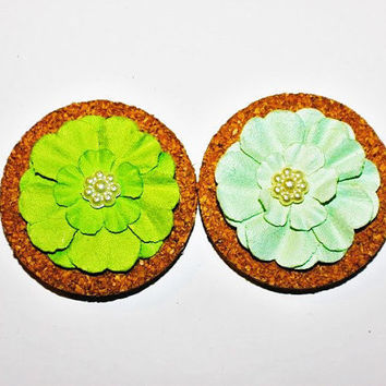 Decorative Blue and Green Flower Cork Magnets - 2 Pack!