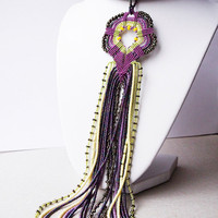 Bead crochet necklace, rope with long micro macrame pendant - Iris Purple Yellow Chartreuse OOAK Unique