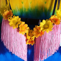 Pink Fringe Rave Bra with Yellow Daisies
