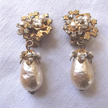Miriam Haskell Baroque Pearl Earrings, Vintage Clip Earrings, Seed Pearls and Rose Montees
