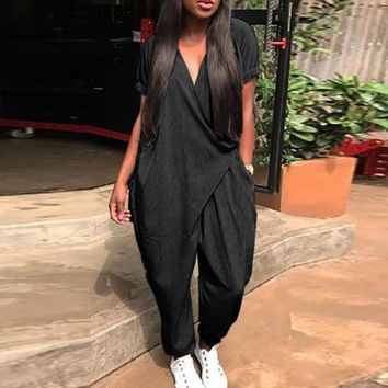 Women Casual Short Sleeve Loose Fit Wrap Around Jumpsuit Pants (Black Navy Gray)