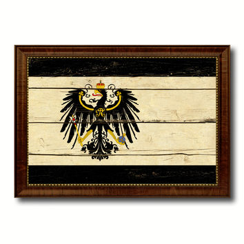 Kingdom of Prussia Germany Historical Military Flag Vintage Canvas Print with Brown Picture Frame Gifts Ideas Home Decor Wall Art Decoration