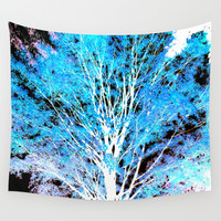 White Trees Blue Leaves Wall Tapestry by WhimsyRomance&Fun
