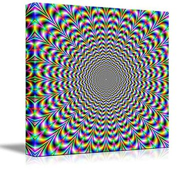 "Wall26 - Canvas Prints Wall Art - Holographic Optical Illusion Spiral Rainbow | Modern Wall Decor/ Home Decoration Stretched Gallery Canvas Wrap Giclee Print. Ready to Hang - 16"" x 16"""