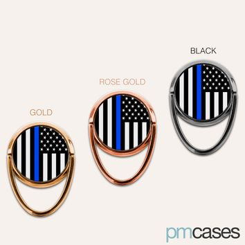 A Thin Blue Line American Flag USA Phone Ring Finger Holder Mount Stand Grips