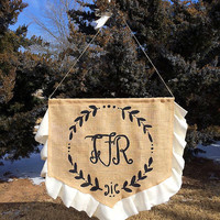"Custom Monogram Burlap Wedding Banner with Ruffles, Ring Bearer Banner 18"" X 18"""