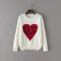 White Heart Letter Print Knitted Sweater