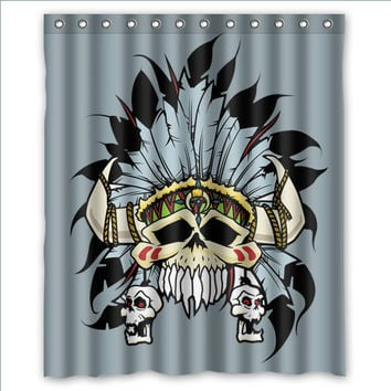 "60"" x 72"" Skull Themed Shower Curtains"