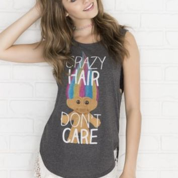 Crazy Hair Don't Care Trolls muscle tee