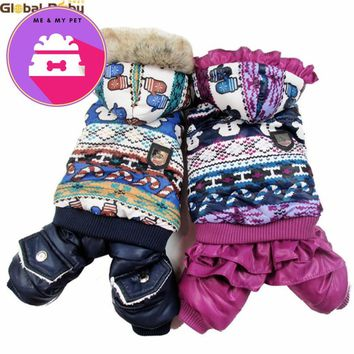 Classic Pet Winter Coat Snowflake Winnie Bear Style Dog Warm Coats Lover Couple Clothing for Pet Dog