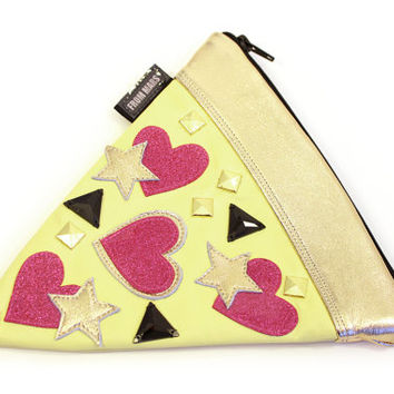 I Heart Pizza! Gem + Studded Zipper Clutch Bag | Purse | Geek Chic
