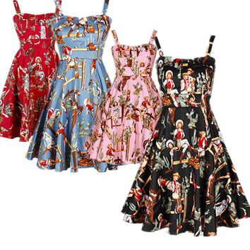 019644d03f5d 40- summer women vintage 50s retro rockabilly pinup cowgirl prin. Gender Women  Dresses ...