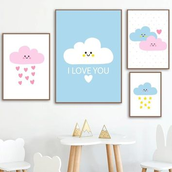 Cartoon I Love You Baby Cloud Rain Wall Art Canvas Painting Nordic Poster Nursery Prints Wall Pictures For Baby Kids Room Decor