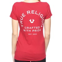 True Religion Crafted With Pride Crew Neck Womens T-shirt - Tango Red