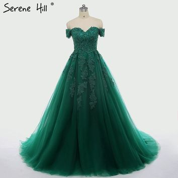 New Green Short Sleeves Tulle Wedding Dress Sequined Beading Photography Sexy Bride Dress Robe