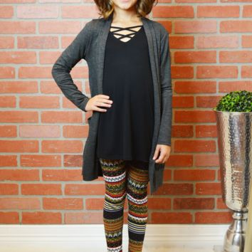 lil' belle simplest cardigan-charcoal