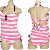 SURFSIDE Stripe & Zippered Bandeau Tankini Set (Pink)