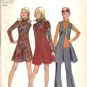 Retro Sewing Pattern Simplicity 70s Mini Dress Long Boho Hippie Style Vest Pants Uncut Size 10 Bust 32