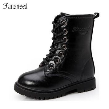 2018 Children shoes girls fashion boots children boots autumn and winter child boys single martin boots