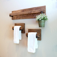 MURPHY Hand Towel Holders, rustic towel hanger set with railroad spikes