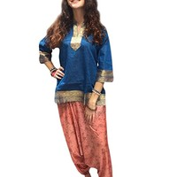 Mogul Womans Tunic Top Sari Border Bohemian Blue Ethnic Blouse Shirt