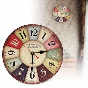 Vintage Home Antique Decor decor kitchen wall clocks decoration Wooden Wall Clock Shabby Chic Rustic Retro Kitchen