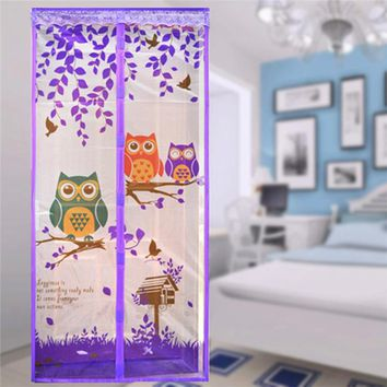 NEW!! Lovely Cartoon Owl Pattern Magnetic Mesh Door Net Cute Anti Mosquito Automatic Closing Door Screen 90*210cm Summer Need!!