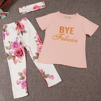 Abacaxi Kids Bye Felicia Floral Girls Outfit 0-24M