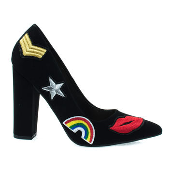 OgdenP Black  By Not Just A Pump, Embroidered Retro Graphic Lips, Rainbow, Star Patch Block Heel