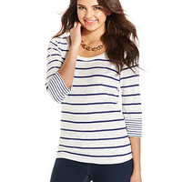American Rag Juniors Top, Three-Quarter Sleeve Striped