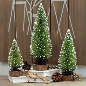 Small Natural Evergreen Trees, Set of 3