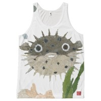 Puffer, Blowfish, Funny All-Over Print Tank Top