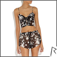 Black Rihanna floral print crop top - tops / t-shirts - rihanna for river island - women