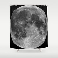 Moon Shower Curtain by Three Purple Orchids