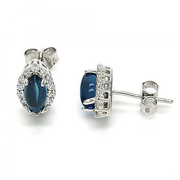 Sterling Silver 02.186.0024 Stud Earring, with White and Blue Topaz Cubic Zirconia, Polished Finish, Rhodium Tone